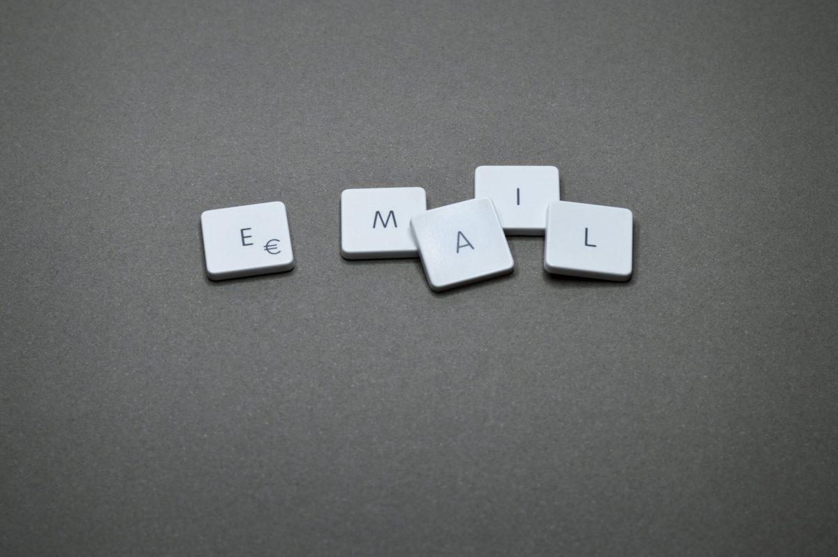 Scrabble tiles spelling EMAIL