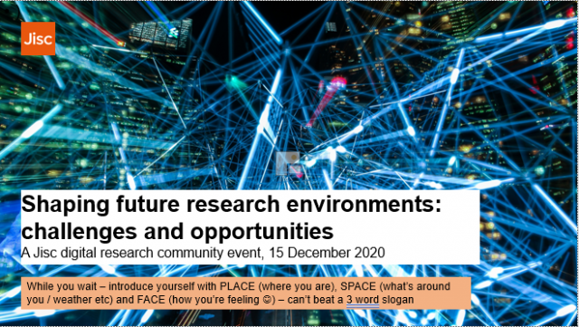 Title slide for the webinar 'Shaping future research environments: challenges and opportunities'