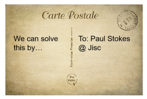 Postcard adressed to Paul Stokes ' Jisc