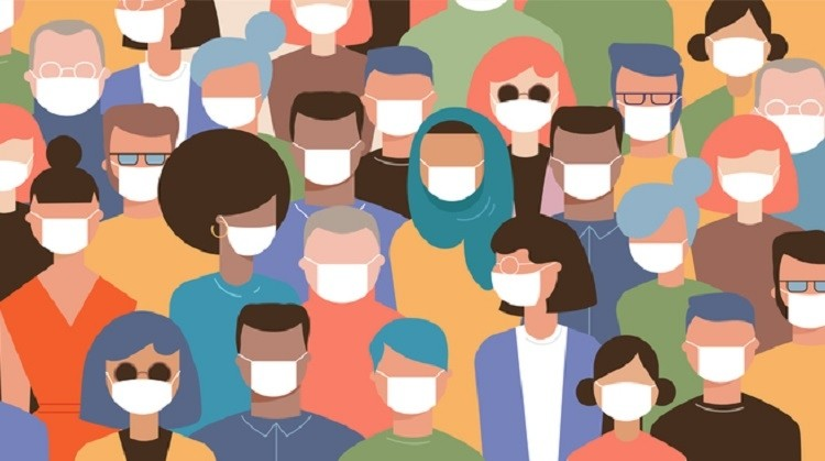 Crowd on the street wearing masks to prevent disease, coronavirus, flu, air pollution, contaminated air, world pollution. Vector illustration in a flat style